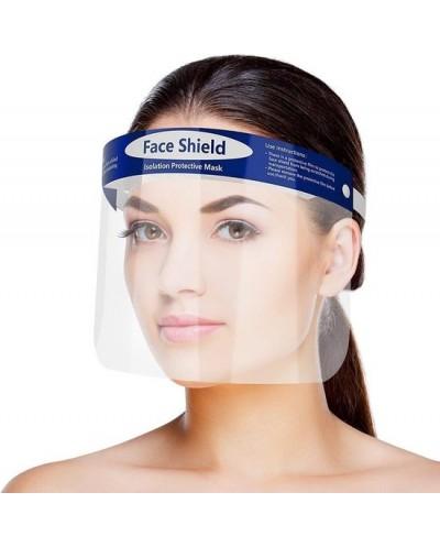 Face shield - Gezichtscherm - Faceshield - Face mask - 33 x 22 cm - transparant / blauw