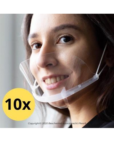 10x Transparant mondkapje – Doorzichtige mondkapjes - Pless® - Met 3 extra shields en reinigingsdoekjes