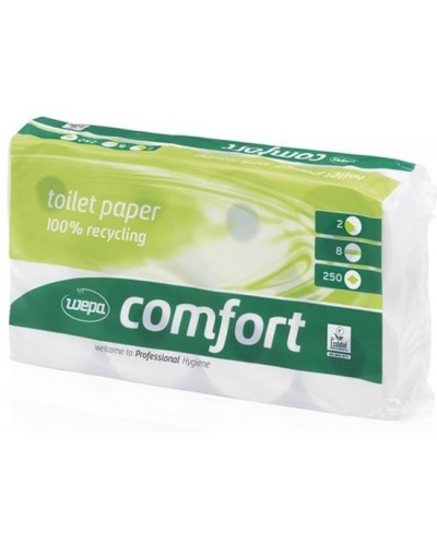 Wepa Comfort toiletpapier, 2-laags, 250 vel, pak à 8 rol